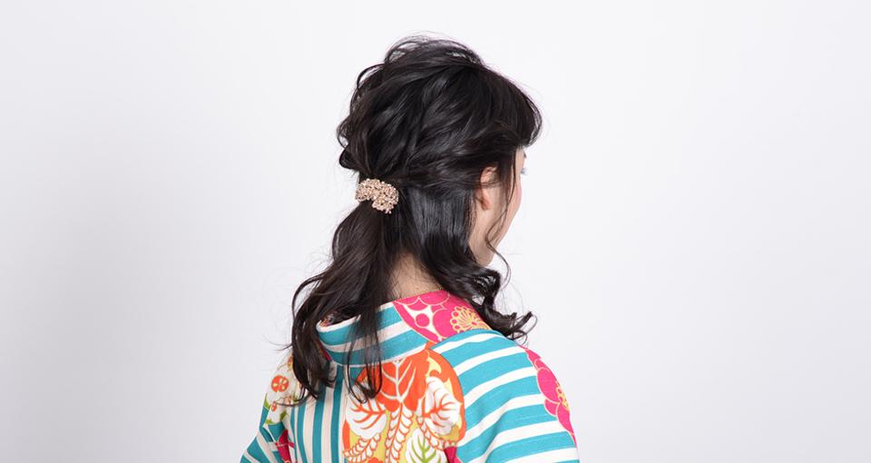 【袴】波ウェーブのクロス編みハーフアップ