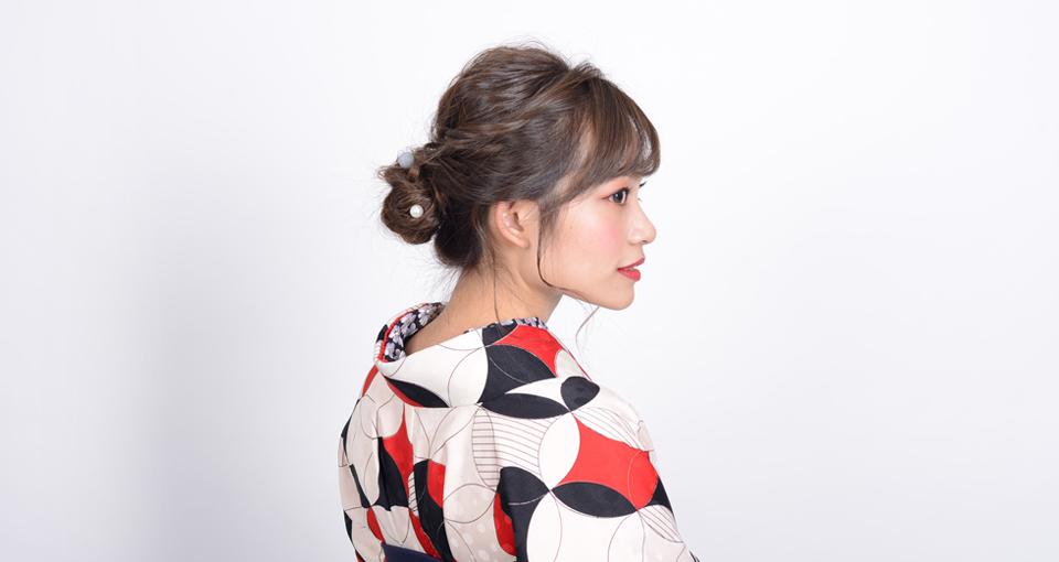 【袴】モダンなゆる編みお団子スタイル